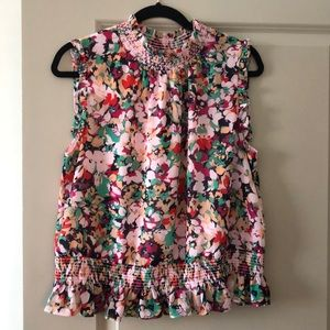 J Crew Floral Shell with Ruched Detail
